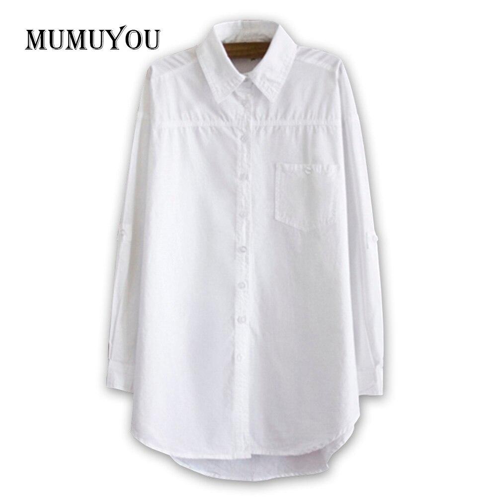 Womens White Cotton Blouse Oversized Boyfriend Style Long -9697