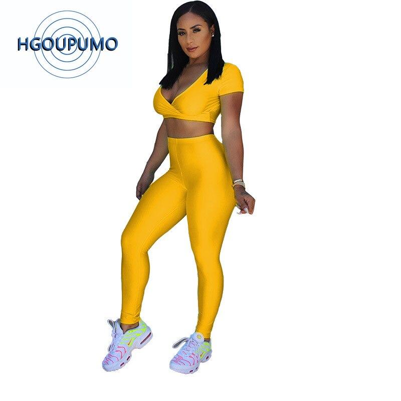 Néon vert jaune Sexy 2 pièce survêtement femmes Festival vêtements profond col en V à manches courtes haut court + crayon pantalon grande taille tenue