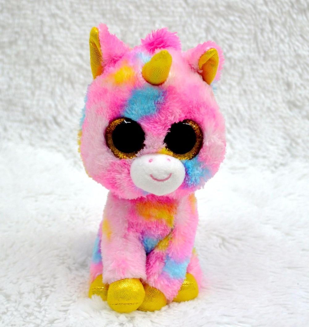 "Ty Beanie Boos Unicorn Pink Colorful Stuffed Plush Animal Kids Soft Toy 6/"" 15cm"