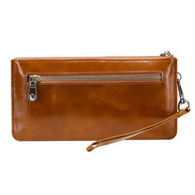 New High Capacity Fashion Women Wallets Long Genuine Leather Wallet Female Double Zipper Clutch Coin Purse Ladies Wristlet