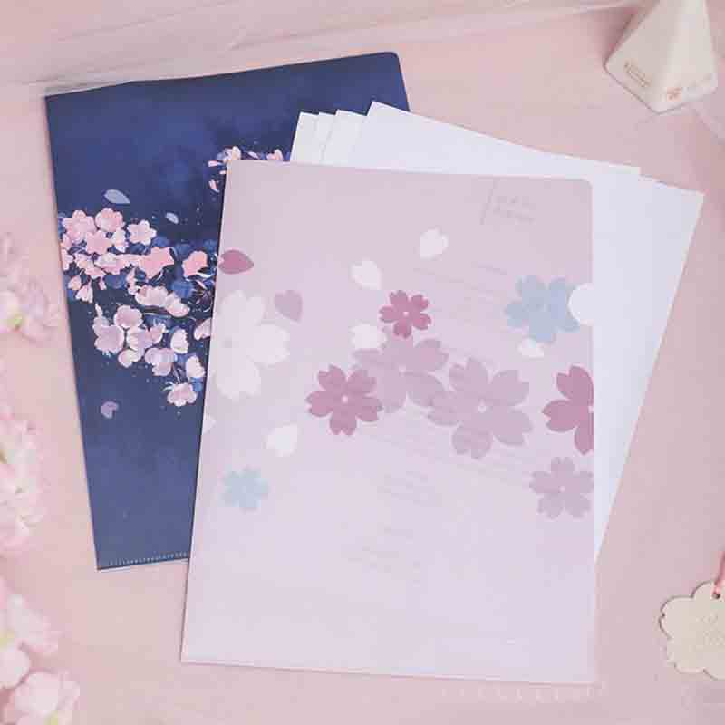 1 Pcs Kawaii Sakura L Shaped File Cover File Folder A4 Folder For Documents Business Bag School Supplies