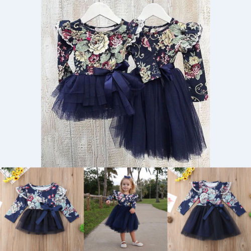 f0f5ff66bee79 Little/Big Sister Infant Baby Girl Floral Party Dress Family clothes long  sleeve tutu dress Outfits