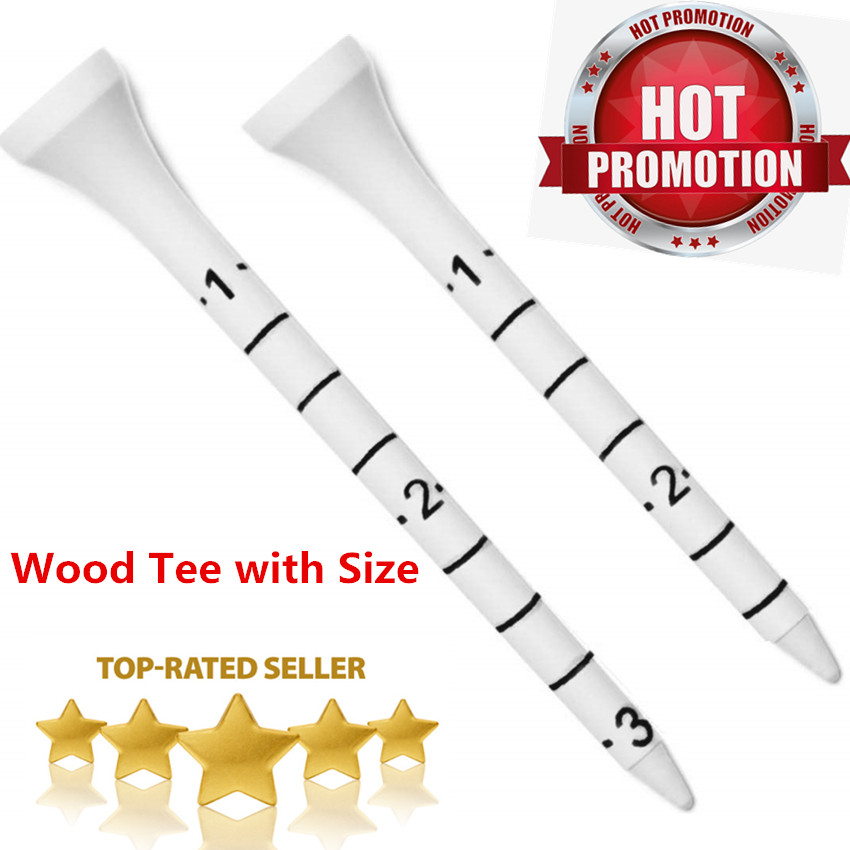 Golf Tees 70mm 83mm Wood White for Driving Range Wooden Golf Tees with Sizes 20 Pcs Golf Tee Professional Training Aids Pack
