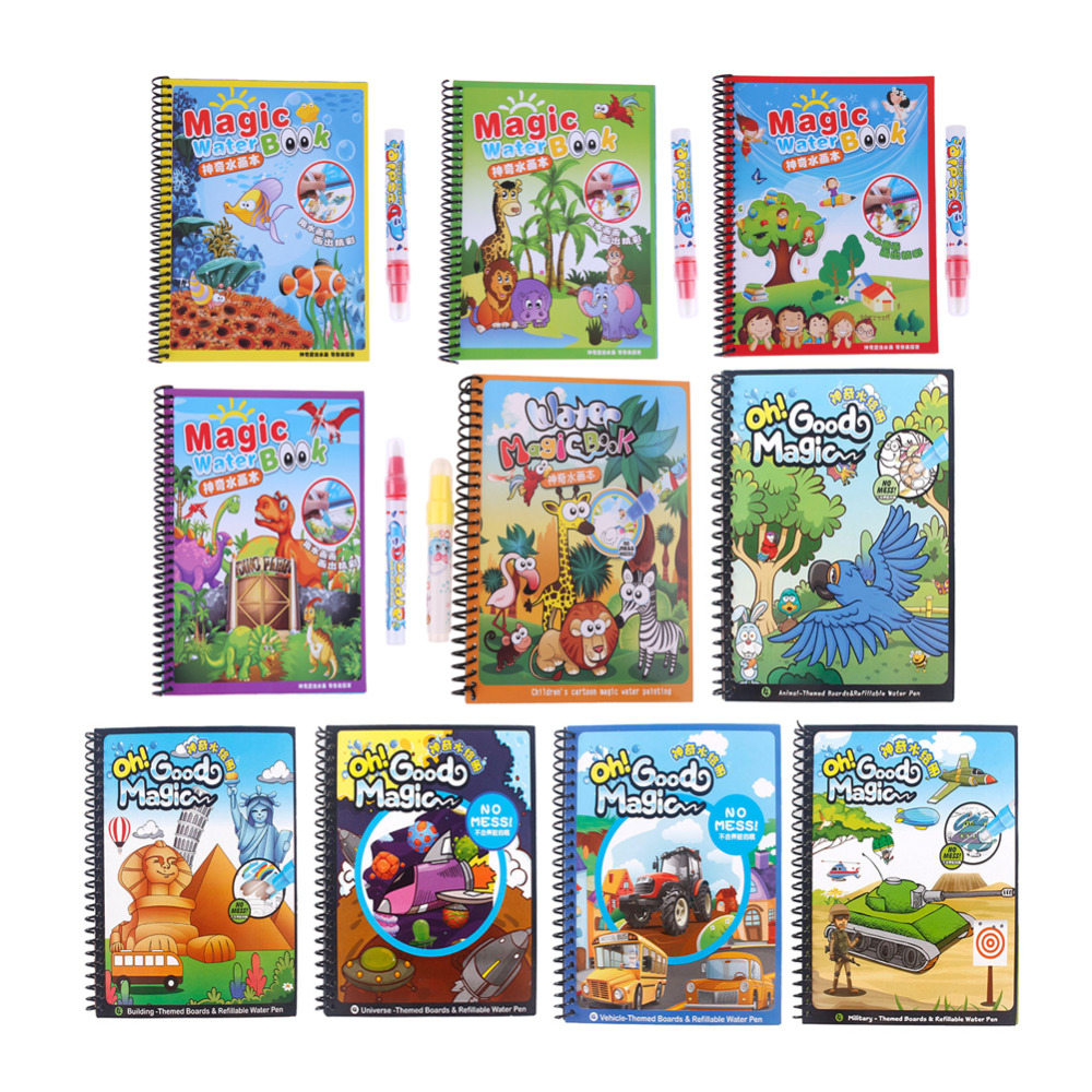 Baby Educational Toy Animals Painting Coloring Magic Water Drawing Book with Pen Writing Doodle Cloth Book Kids Drawing Board