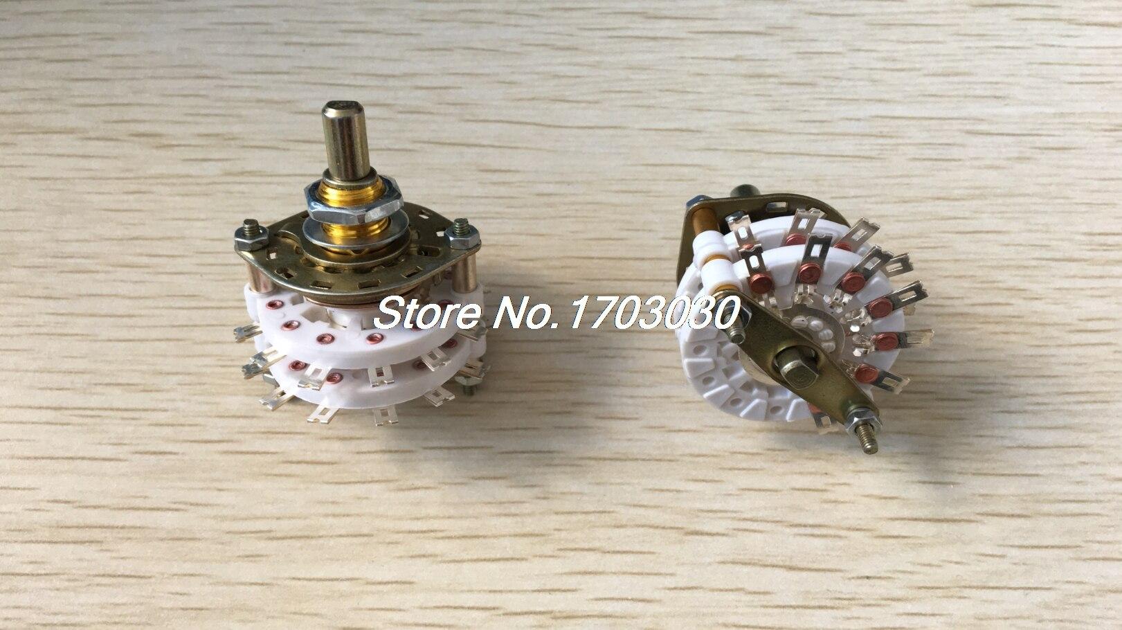 4PCS Band Channael Rotary Switch 2P6T 2 Pole 6 Position Dual Deck kcz3 6 3p6t 3 pole 6 position three decks band channael rotary switch