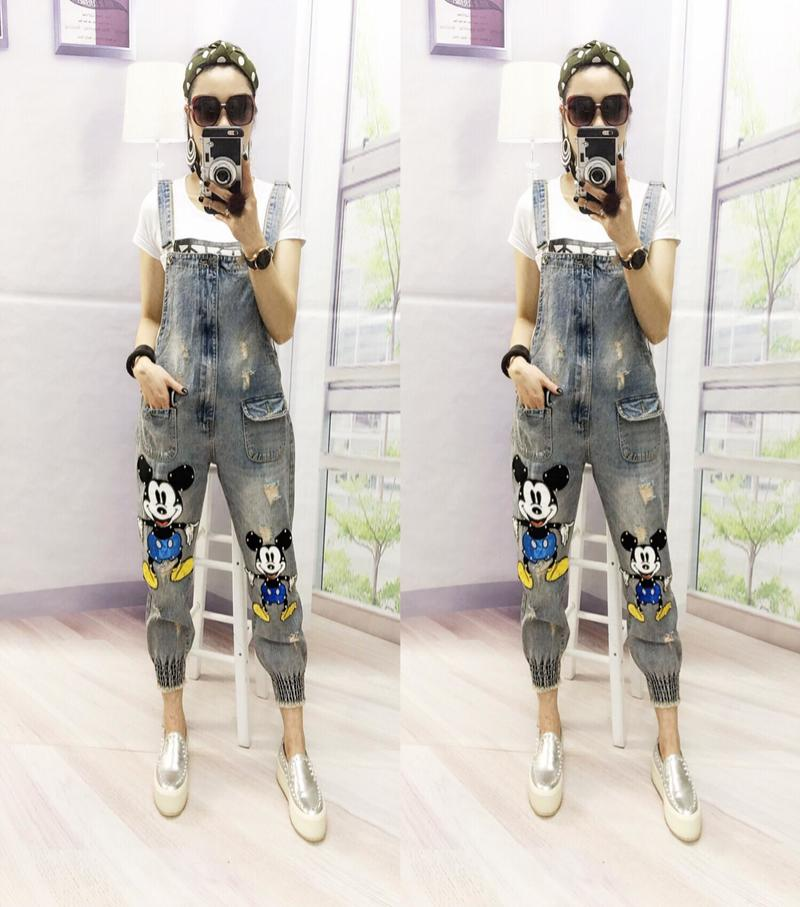 Befree Kol Saati Visavis Spring Women Fashion Beading Animal Printed Vintage Denim Overall Bodysuit Ladies Casual Jeans Pants
