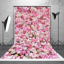 1.5x2.1m 5x7ft casamento rosa 3d flores parede estúdio pano de fundo fotografia foto