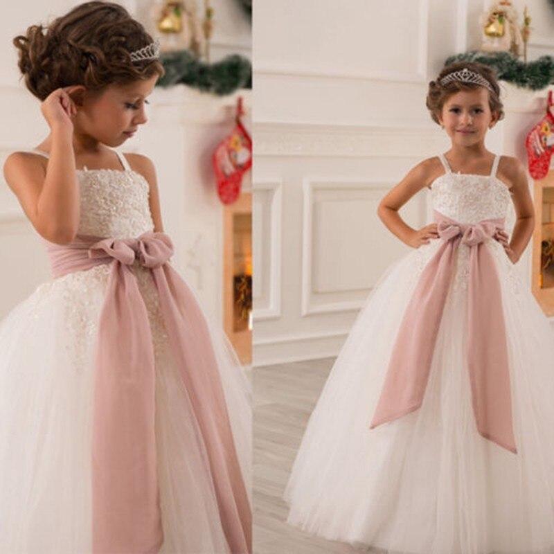 Elegant Ivory Ball Gown Flower Girl Dress 2019 Sash Bow First Communion Dresses For Wedding Party Junior Bridesmaid Dress