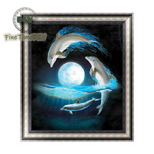 FineTime Dolphins 5D DIY Diamond Painting Partial Round Drill Diamond Embroidery Animals Cross Stitch Mosaic Painting finetime 5d christmas cat diy animals diamond painting partial round drill diamond embroidery mosaic cross stitch