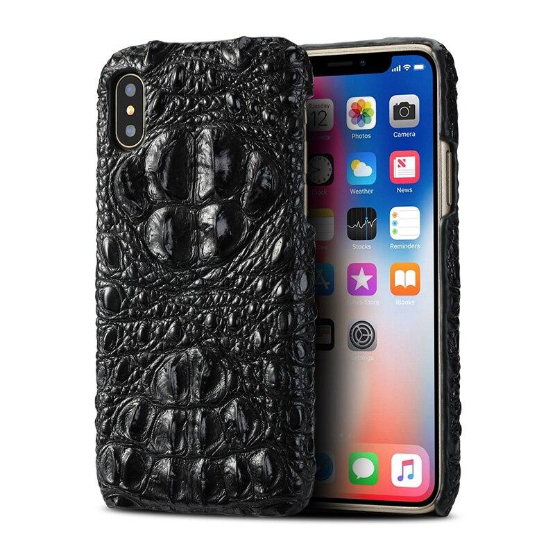Luxe Véritable cas de Téléphone en cuir Pour iPhone X 6 6 s 7 8 Plus cas Vraiment Crocodile peau de couverture arrière pour XR Xs Max 6 p 7 p 8 p cas