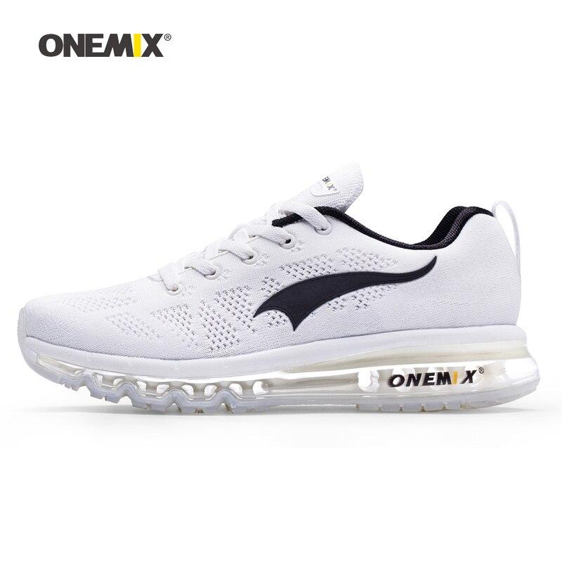US $33.75 55% OFF ONEMIX Männer Laufschuhe Für Frauen Air Mesh Stricken Kissen Trainer Tennis Sport Turnschuhe Outdoor Reise Wandern Jogging Schuhe in
