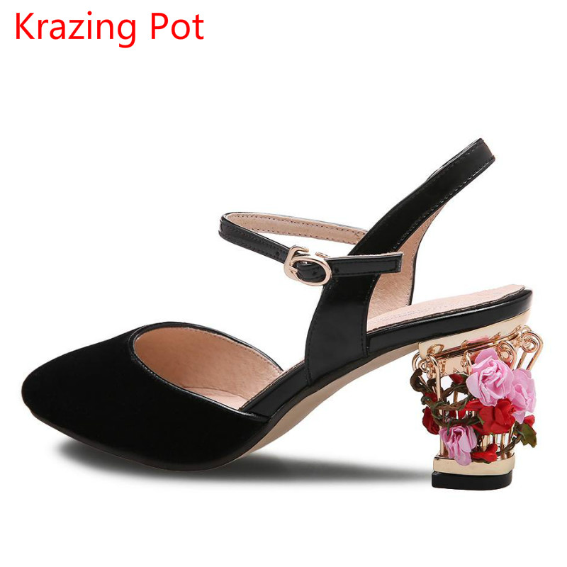 2017 Fashion Brand Summer Shoes Ankle Straps Shallow Birdcages High Heels Pointed Toe Flower Pumps Luxury Party Women Sandals 00 wholesale lttl new spring summer high heels shoes stiletto heel flock pointed toe sandals fashion ankle straps women party shoes