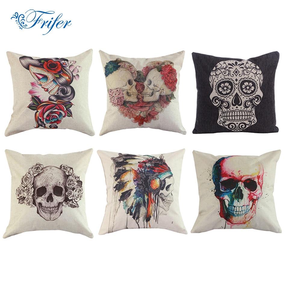 Nº2018 algodón de lino cráneo Mantas sofá Cashion Fundas De Almohada ...