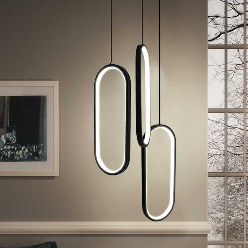 Black White Color Modern led pendant lights for living room dining room acrylic aluminum body LED