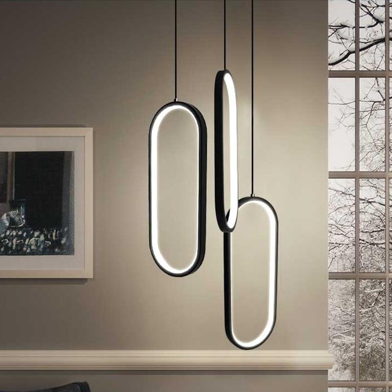Black White led pendant lights modern design living room restaurant kitchen hanging lights bedroom bedside led pendant lamps