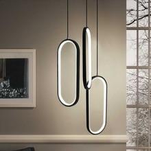 Siyah/beyaz led kolye ışıkları modern tasarım oturma odası restoran mutfak asılı ışıklar yatak odası başucu led kolye lambaları