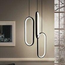 أسود/أبيض قلادة led أضواء الحديثة تصميم غرفة المعيشة مطعم المطبخ مصابيح تعليق للزينة غرفة نوم السرير قلادة led مصابيح متدلية