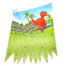Length 2 meters Happy Birthday Boys Favors Flags Dinosaur Theme Hanging Banner Decorations Baby Shower Party Pennants 1Set/Pakc