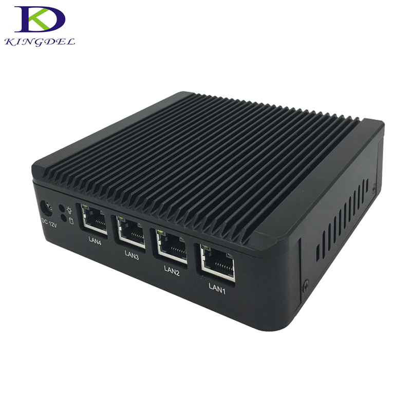 Kingdel Fanless Mini PC J1900 Quad Core 4*Intel WG82583 Gigabit Lan Firewall Multi-function Router Network Security Desktop