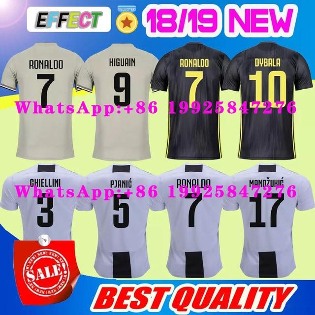 ff7a1024d 2018 Thai Quality RONALDO JUVENTUS Soccer Jersey Men 1819 7  JUVE CR7 9  Higuain 10 Dybala Home Away Third Football Shirt uniform
