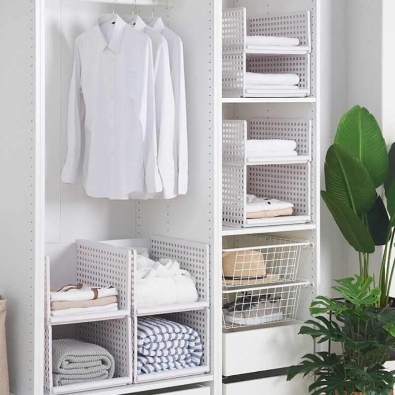 Durable Foldable Wardrobe Cloth Storage Box Closet Shelf Divider Storage Holders Racks For Home Bedroom Closet Organization
