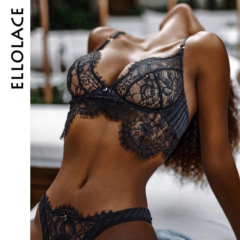 Ellolace Sexy pestañas encaje ropa interior conjunto de ropa interior Mujer pajarita Bralette transparente ahueca hacia fuera el sujetador y Panty conjunto