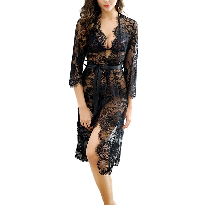 2018 Sexy Women   Nightgowns   &   Sleepshirts   Summer Three Quarter   Nightgowns   Solid Full Lace Transparnet Hollow Out Dress