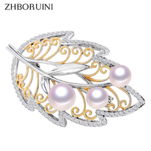 ZHBORUINI Design Fine Jewelry Natural Freshwater Pearl Brooch Italian Technology Leaf Brooch Pins Pearl Jewelry Women Non Fading rhinestone artificial pearl leaf brooch