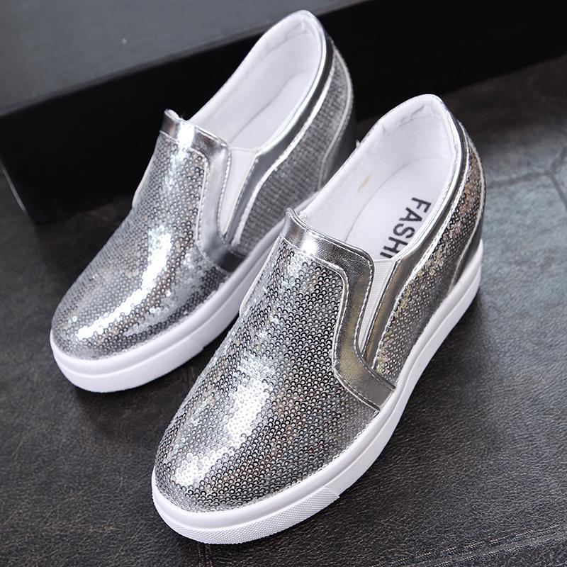 7cm Hight Increase Women Platform Loafers Ladies Creepers Hidden Wedges Casual Fashion Bling Glitter Shoes Woman Slip On Flats phyanic crystal shoes woman 2017 bling gladiator sandals casual creepers slip on flats beach platform women shoes phy4041