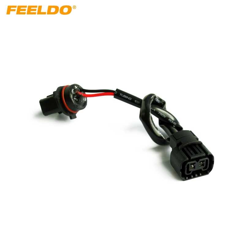 FEELDO 1XCar 5202/H16/2504/PSX24W Female Socket Connector Adapter To P13W Male Socket With Wire Harness Cable HID/LED Conversion