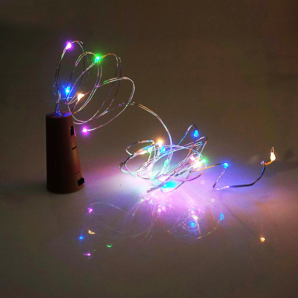 HUANJUNSHI 2M 20LED Wine Bottle Light Cork Shape Battery Copper Wire String Lights For Bottle DIY Christmas Wedding And Party ...