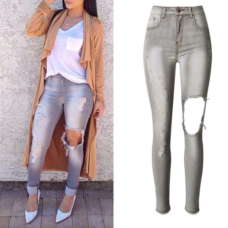 Grey Ripped Women s Skinny Jeans High Waist Elastic Full Length Vintage Denim Pencil Pants