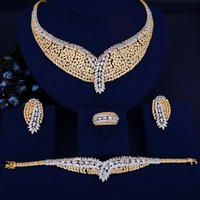 GODKI Luxury 2Tone Geometry African Necklace Earring Set Jewelry Set For Women Wedding Zircon CZ Dubai Silver Bridal jewelry Set
