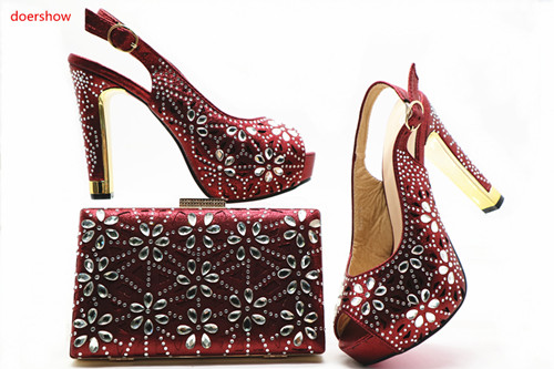 doershow Shoe and Bag Set Women Shoes and Bag Set In Italy Design Italian Shoes with Matching Bag Set Decorated in red SHX1-11 cd158 1 free shipping hot sale fashion design shoes and matching bag with glitter item in black
