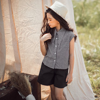 DFXD 2018 Summer High Quality Teen Girl Clothing Sets New Cotton Sleeveless Plaid Single breasted Shirt+Shorts 2pc For 3 14Years