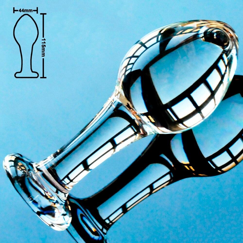 44mm Big ball pyrex glass anal dildo butt plug crystal vagina bead fake penis female masturbate adult sex toy for gay women men