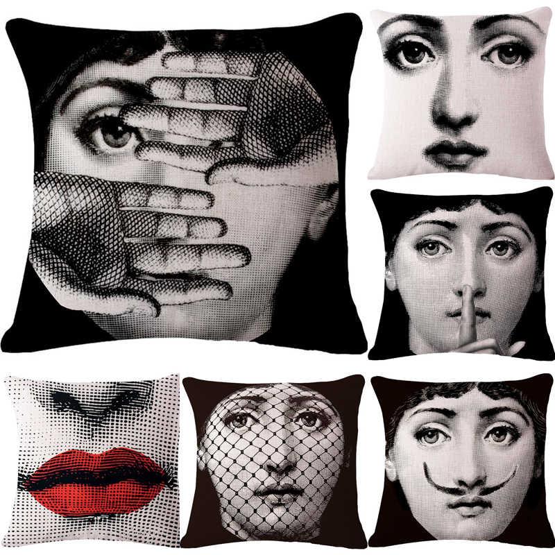 Dekoratif Melempar Bantal Case Lucu Kartun Wajah Kursi Bantal Cover untuk Sofa Dekorasi Rumah Almofadas Sarung Bantal untuk Rumah Dekoratif