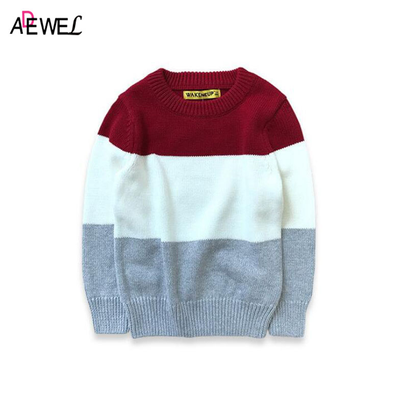 ADEWEL Style Warm Sweater Striped Children 2018 Spring Autumn Boy O-neck Pullover Girls Patchwork Sweaters for Kid Clothing Tops beige round neck love patchwork sweater