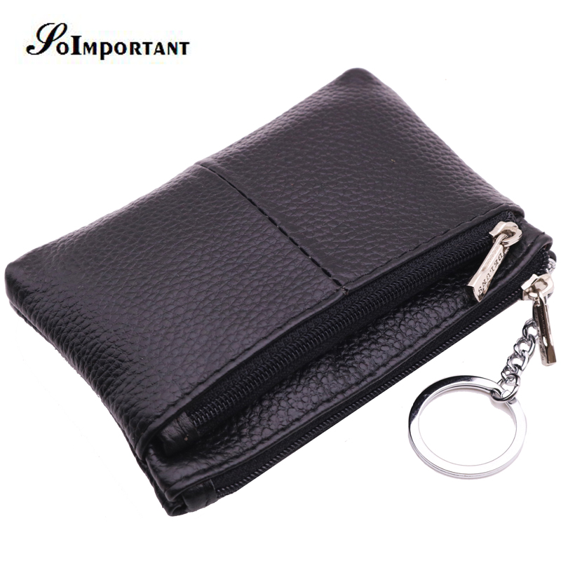 Genuine Leather Mini Small Wallet Female Coin Purse Zipper Men Women Wallets Male Card Holder Magic Walet Portomonee Key Ring genuine leather coin purses women small change money bags pocket wallets female key chain holder case mini pouch card men wallet