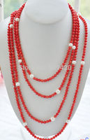 ~~ W&O655 >>long 100inch 8 9mm freshwater white pearl 6mm red coral rounds bead necklace
