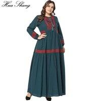 Cotton And Linen Dubai Abaya Dress Women Long Sleeve Embroidery Floral Maxi Long Dress Green Plus Size African Abaya Dresses