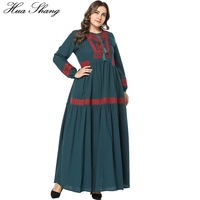 Cotton And Linen Dubai Abaya Dress Women Long Sleeve Embroidery Floral Maxi Long Dress Green Plus Size African Abaya Dresses