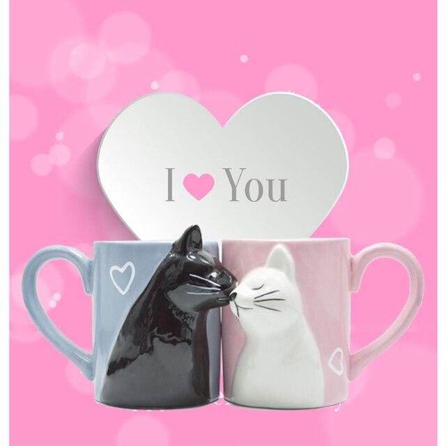 2pcs 럭셔리 키스 고양이 컵 커플 세라믹 머그잔 결혼 커플 기념일 아침 머그잔 우유 커피 차 아침 발렌타인 데이