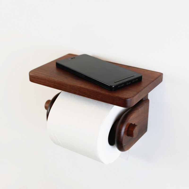 Solid wood roll paper holder toilet paper holder toilet tube roll free punching tissue box LO62545 panda style cute tissue roll box small gadget trash black