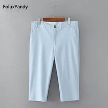 Calf-Length Summer Pants Women Capri Plus Size 3 4 5 XL Slim Stretched Casual Pencil Blue Black SWM891