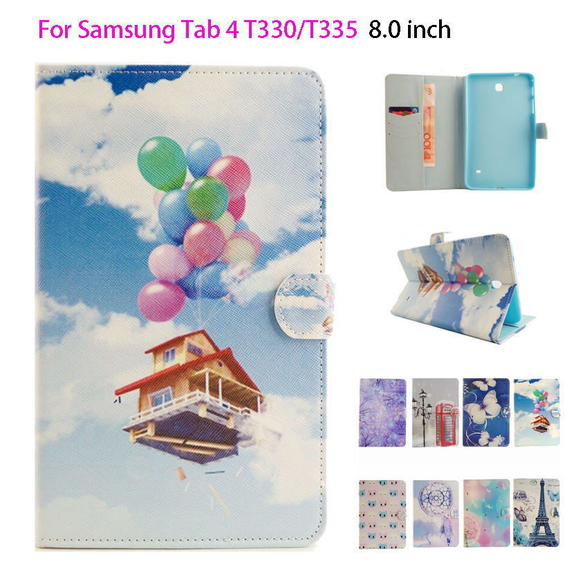 Fashion Painted Patterns Flip Silicone Leather Case For Samsung Galaxy Tab 4 8.0 T330 T331 T335 Cover Silicon PU Funda Shell crocodile pattern luxury pu leather case for samsung galaxy tab 4 8 0 t330 flip stand cover for samsung tab 4 8 0 t330 sm t330