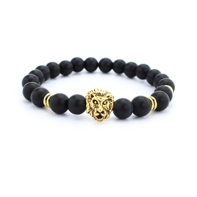 Wholesale Antique Gold Plated Buddha Leo Lion Head Bracelet Black Lava Stone Beaded Bracelets For Men Women Friend gift yoga