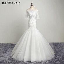 BANVASAC 2017 New Mermaid Elegant Embroidery Boat Neck Wedding Dresses Half Cap Sleeve Crystals Satin Lace Bridal Gowns
