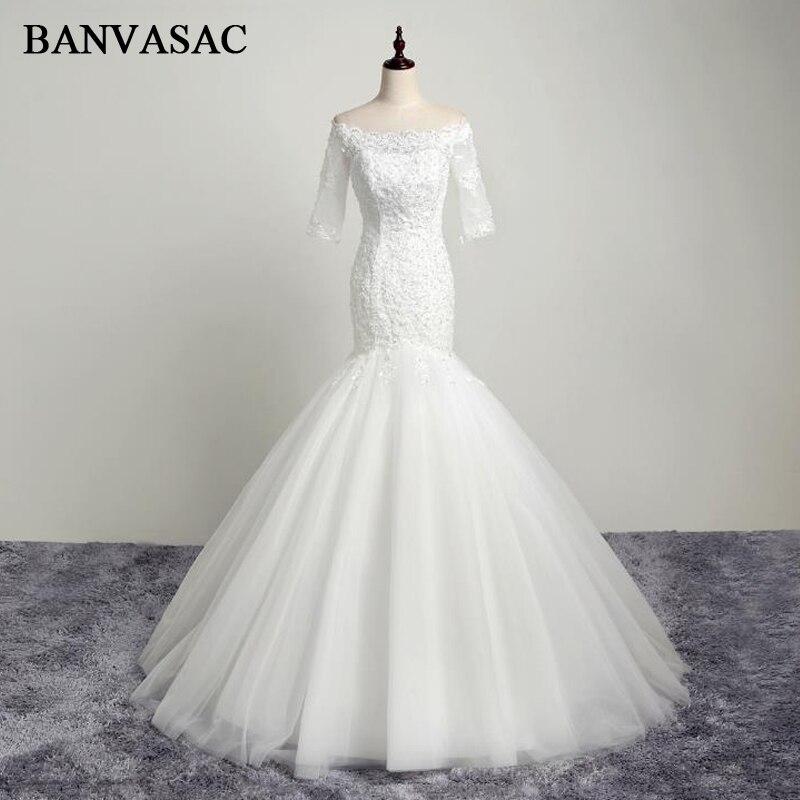 BANVASAC 2017 Nya Mermaid Elegant Broderi Båt Hals Bröllopsklänningar Halv Sleeve Kristaller Satin Blå Brudklänningar