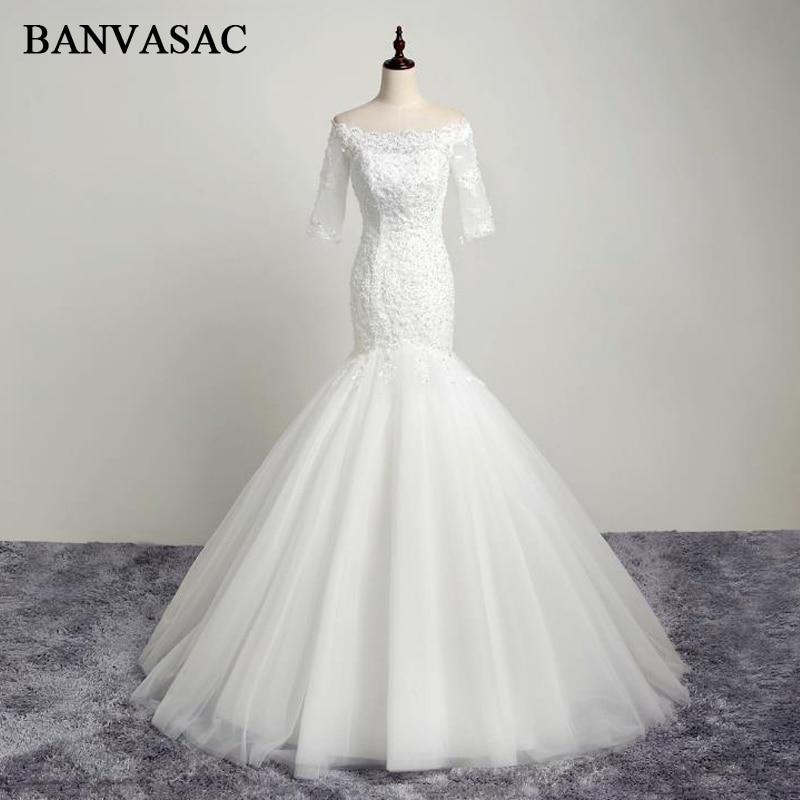 BANVASAC 2017 Νέα Γοργόνα Κομψή Κέντημα Γάμος Νυφικά Γάμος Νυφικά Κρύσταλλα Half Sleeals Σατέν Lace Νυφικά
